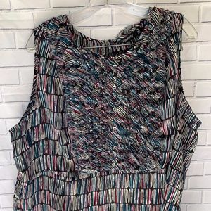 Relativity Black Print Ruffled Bodice Top Size 20W